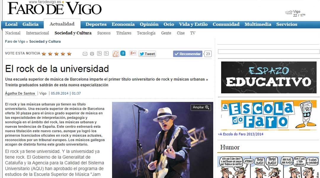 Diari EL FARO DE VIGO (05/09/2014)