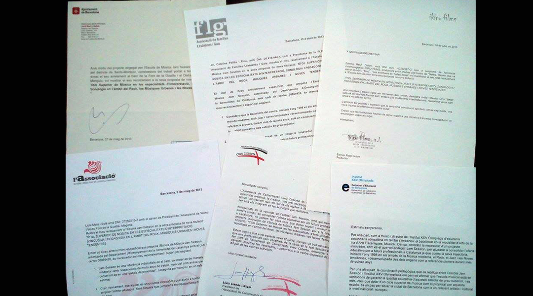 Letters of support for the Superior School of Music Jam Session