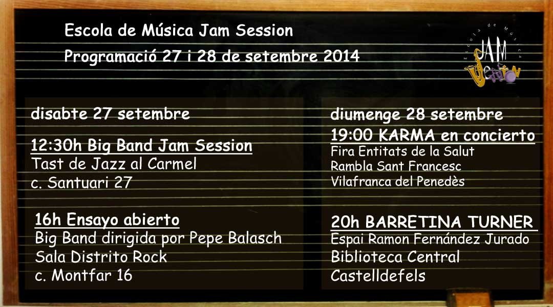 Weekend Schedule 27 and September 28, 2014