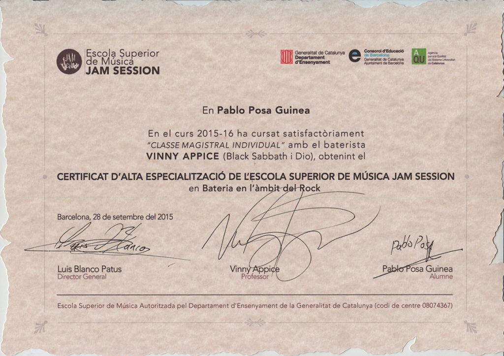 vinny appice - esm jam session DIPLOMA
